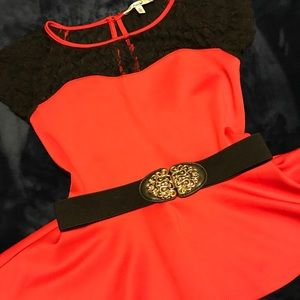Red romantic top with black lace